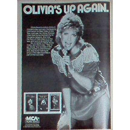 Olivia Neton John Olivia's Up Again (USA 1984 MCA promo type advert 'Videos release' poster!!)