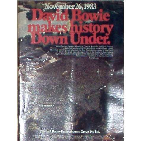 David Bowie 26.02.83 Bowie makes History Down Under (USA 1984 PD promo type advert 'Concert release' poster!!)