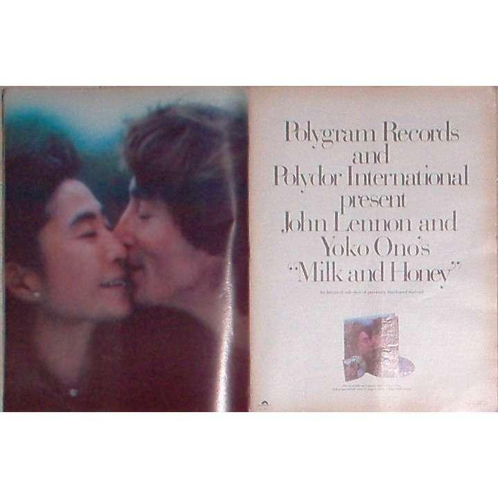 Beatles / John Lennon & Yoko Oko Milk And Honey (USA 1984 Polygram' promo type advert 'album release' poster!!)