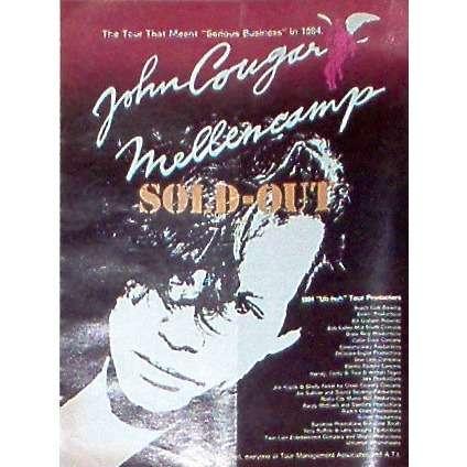 John Cougar Mellencamp USA' Sold-Out' Tour 1984 (USA 1984 Management Associates promo type advert 'concerts' poster!!)