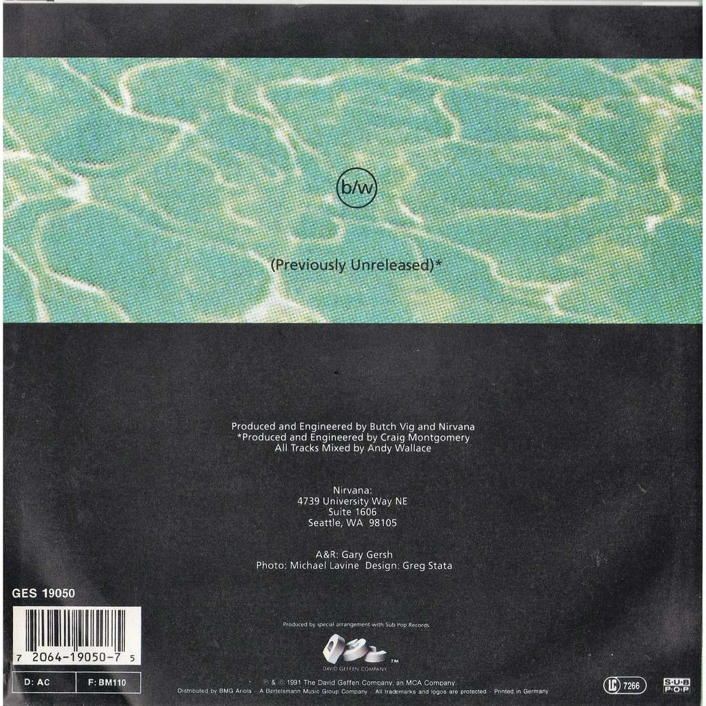 Nirvana Smells like teen spirit (German 1991 original Ltd 2-trk 7single unique 'misspressed' back ps!!)