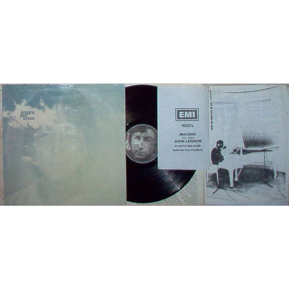 Beatles / John Lennon / Plastic Ono band Imagine (Italian 1972 original 12-trk'promo use'LP ps+inner+poster & 5pag. Bio Infos promo inserts!)