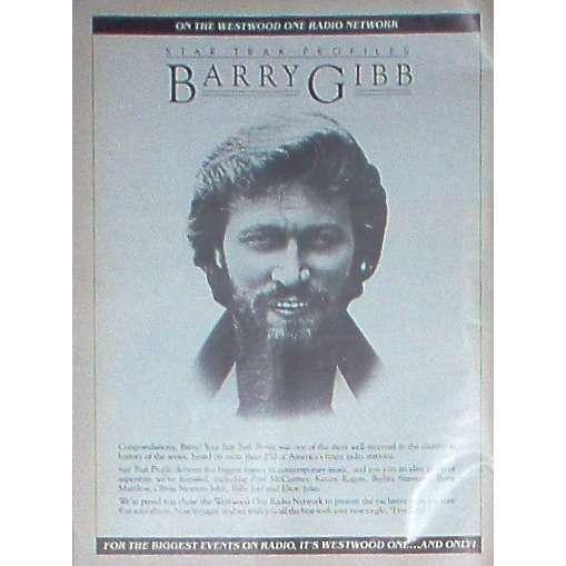 Bee Gees / Barry Gibb Barry Gibb (USA 1984 WWO promo type advert 'Radio Program release' poster!!)