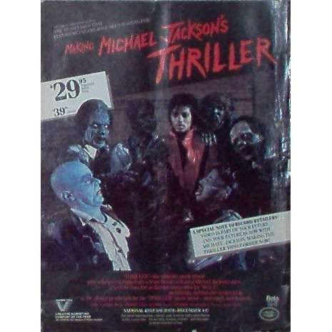 Michael Jackson Thriller (USA 1984 'Vestron Video' promo type advert 'Video release' poster!!)
