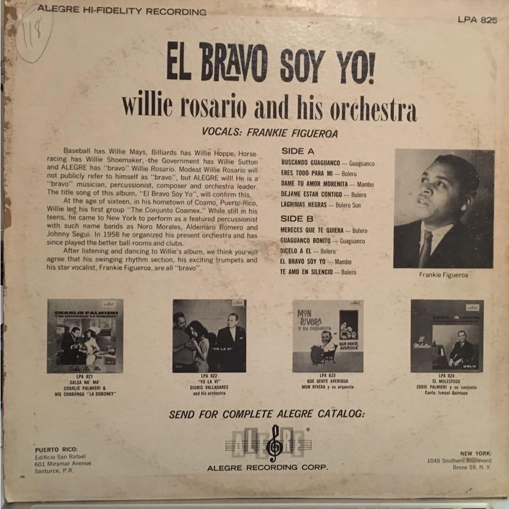 Willie Rosario and his Orchestra El bravo soy yo