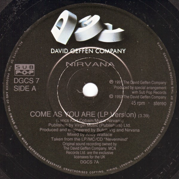 Nirvana Come As You Are (UK 1992 original Ltd 2-trk 7single full ps)