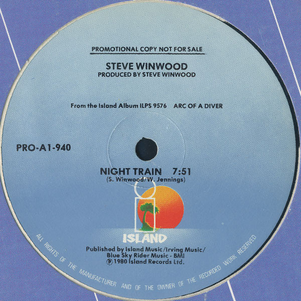 Traffic / Steve Winwood Night Train (USA 1980 1-trk promo 12ep on blu Island lbl Island slv)