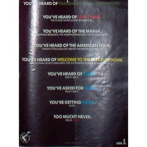 Frankie Goes To Hollywood Relax (USA 1985 'ZTT-Island' promo type advert 'single release' poster!!)
