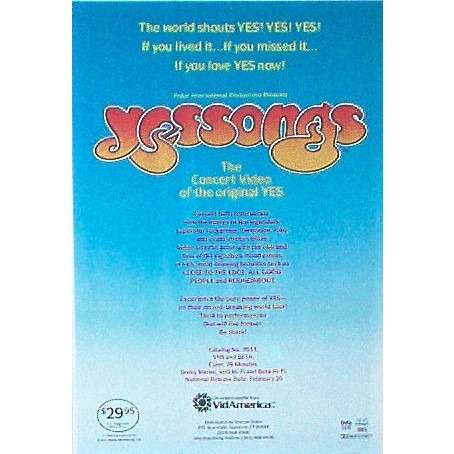 YES Yessongs (USA 1985 'Video America' promo type advert 'Video release' poster!!)