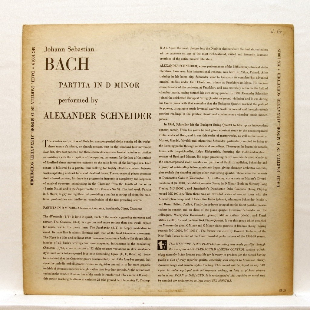 Js bach : partita no 2 for solo violin by Alexander Schneider, LP with  elyseeclassic