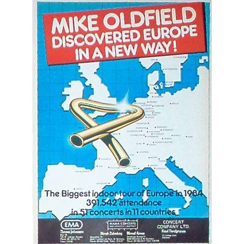 Mike Oldfield Discovered Europe 1984 (USA 1985 'mama Concerts' promo type advert 'Tour release' poster!!)