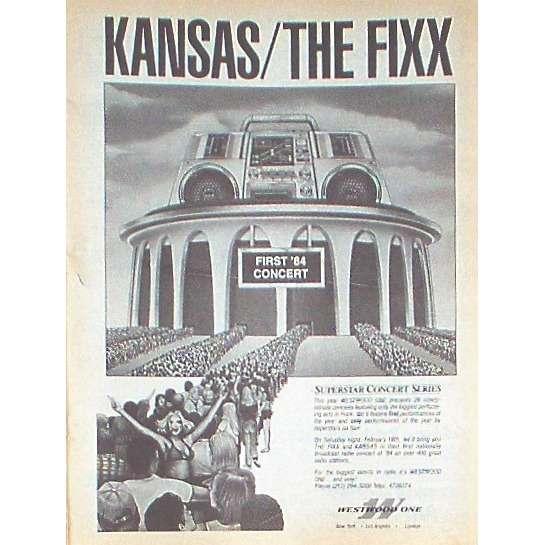 Kansas / The Fixx First '84 Concert (USA 1984 'WWO' promo type advert 'Radio Program release' poster!!)