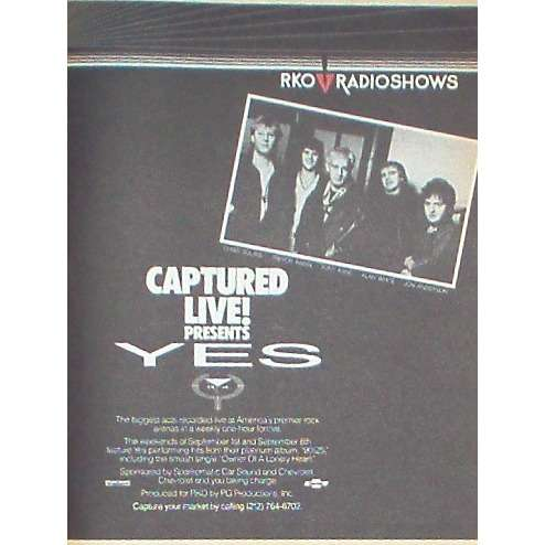 YES Captured Live! (USA 1984 'RKO' promo type advert 'Radio Program release' poster!!)
