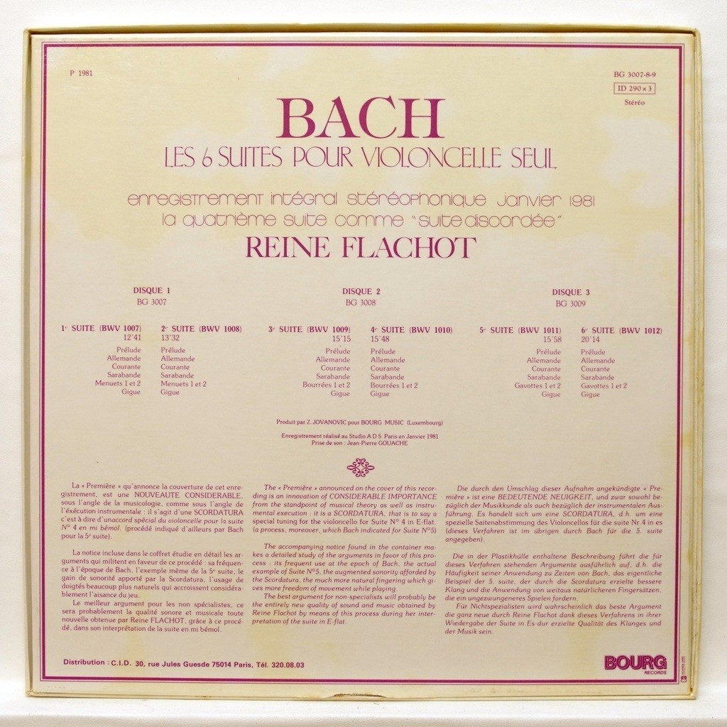 Reine Flachot JS Bach : The 6 suites for cello solo BWV 1007 - 1012