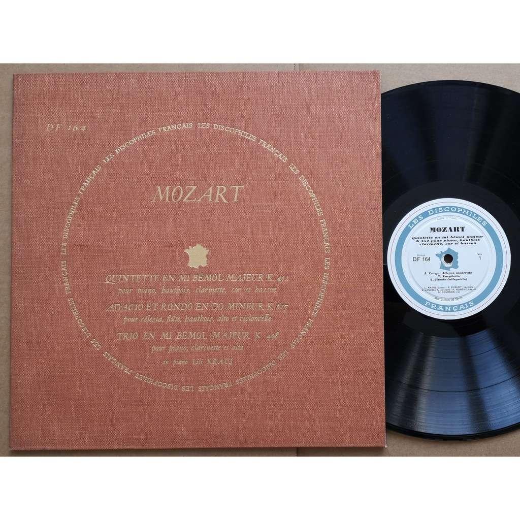 lili kraus / p. Pierlot / j.p Rampal / p. Pasquier MOZART -quintette en mi bemol majeur k 452 pour piano , hautbois , clarinette , cor et basson +