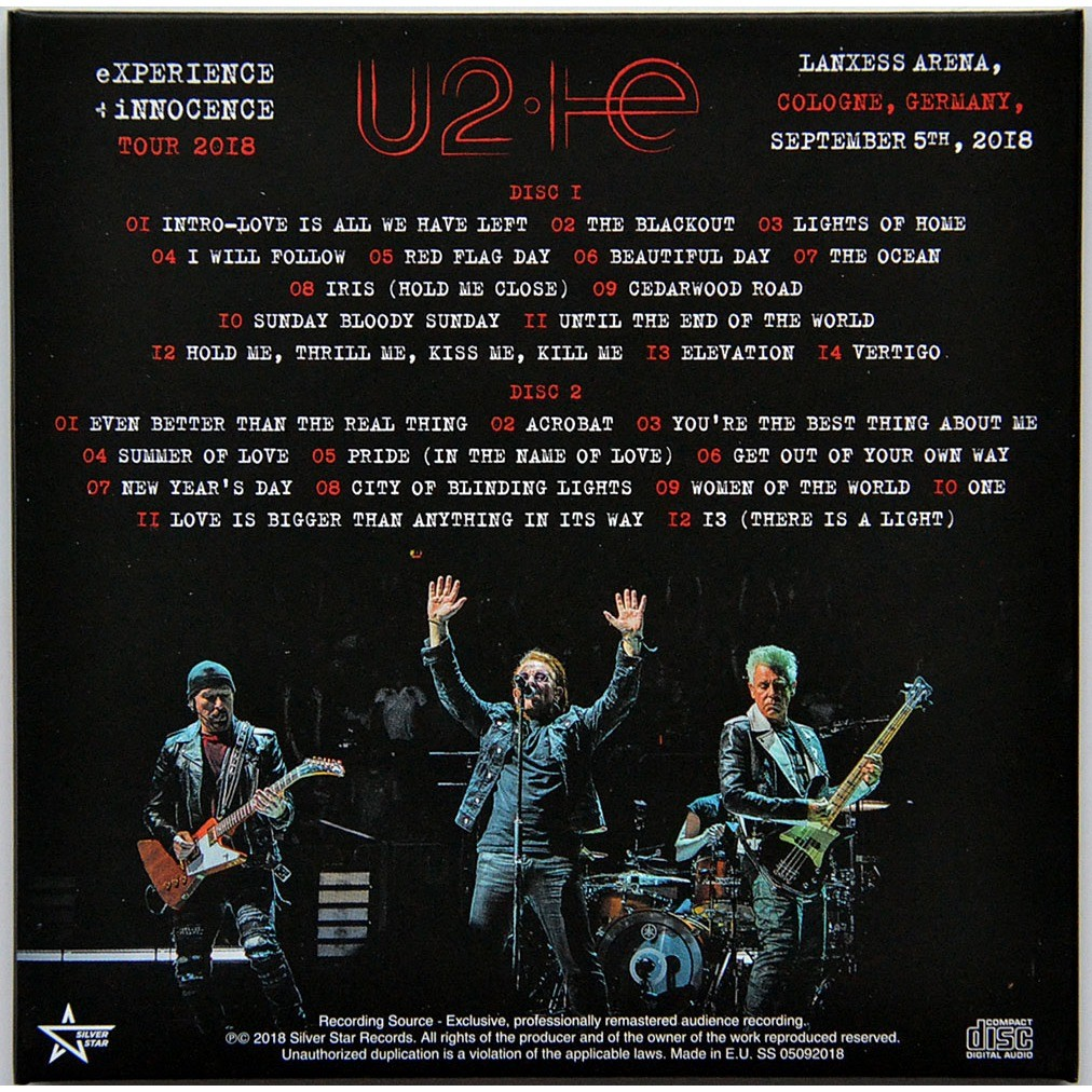 U2 live in köln cologne 2018 experience + innocence tour 2cd set in  digisleeve by U2, CD x 2 with ultramusic