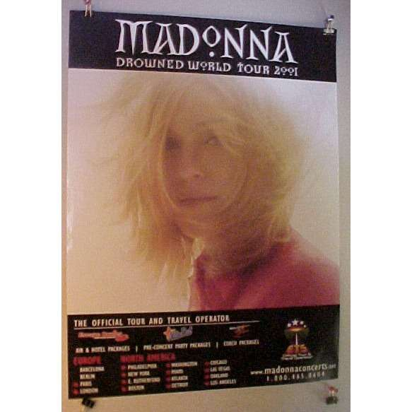madonna Madonna Drowned World Tour Poster 2001 North American Dates Several Around Sept