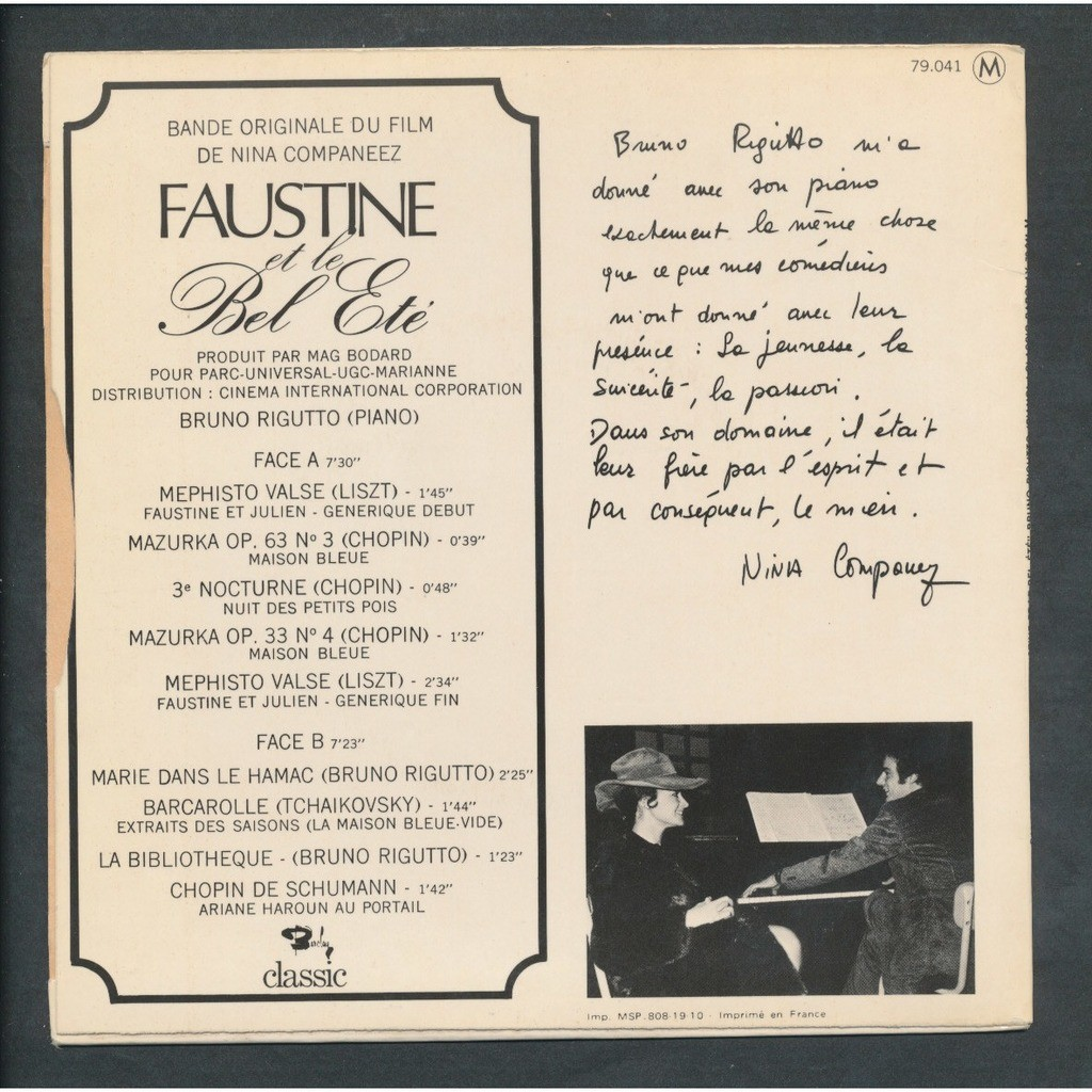 Faustine Et Le Bel Ete By Bruno Rigutto Ep With Neil93 Ref 3003422