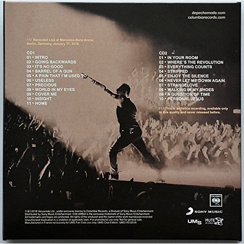 DEPECHE MODE Live In Berlin Germany 17 January 2018 Global Spirit Tour 2CD Digipak