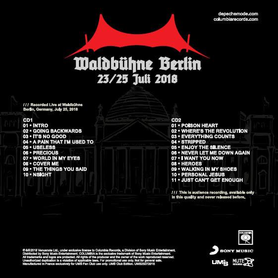 DEPECHE MODE Live at Waldbuhne Berlin Germany 25 July 2018 Global Spirit Tour Final Show 2CD