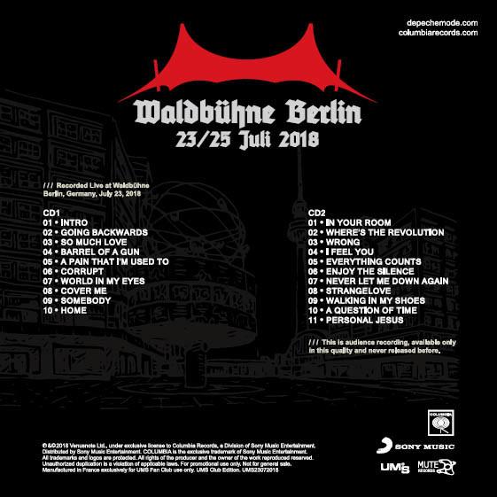 DEPECHE MODE Live at Waldbuhne Berlin Germany 23 July 2018 Global Spirit Tour 2CD