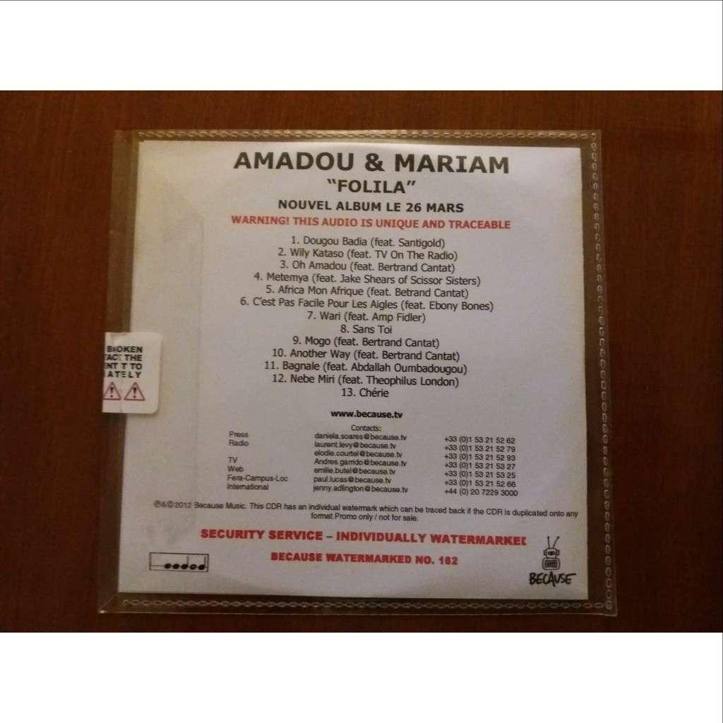Amadou & Mariam , Bertrand Cantat ( noir désir ) promo cd album Folila
