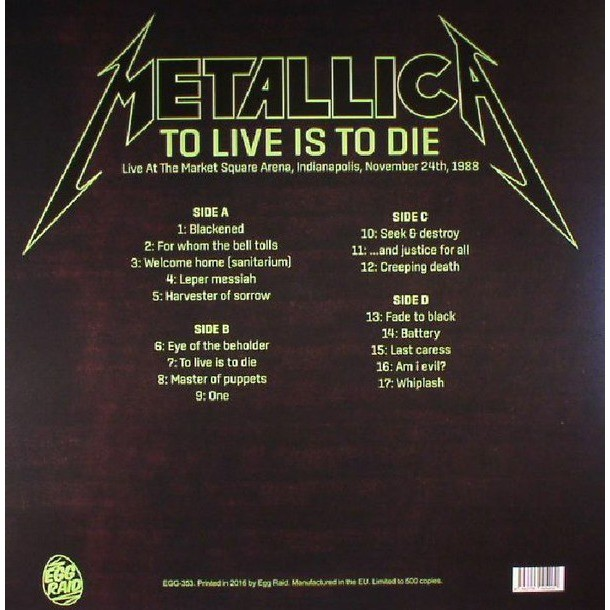 metallica To Live Is To Die