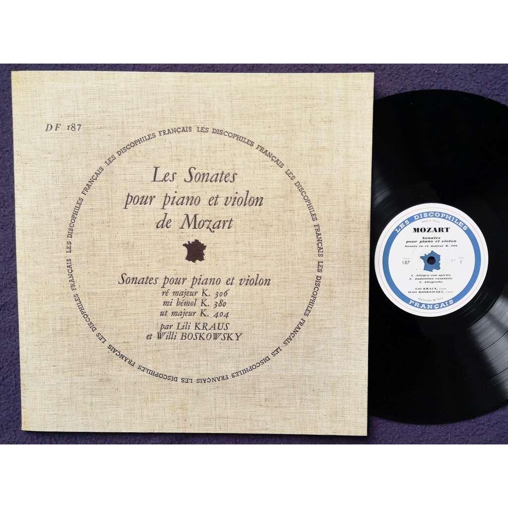 lili kraus / willi boskovsky sonates pour piano et violon de mozart / ré majeur K. 306 / mi bémol K. 380 /ut majeur K. 404