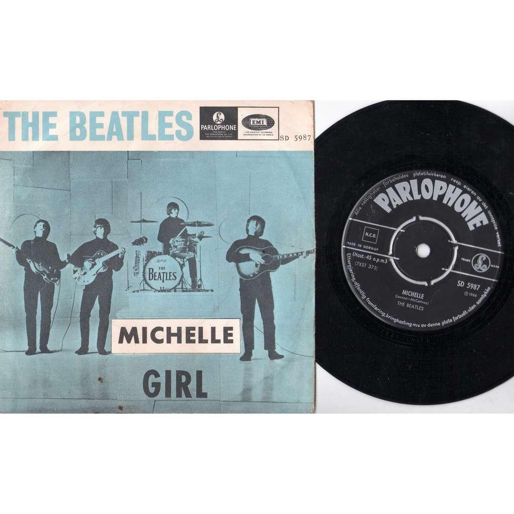 Beatles Michelle (Norway 1966 original 2-trk 7single on Parlophone lbl unique bluish ps)
