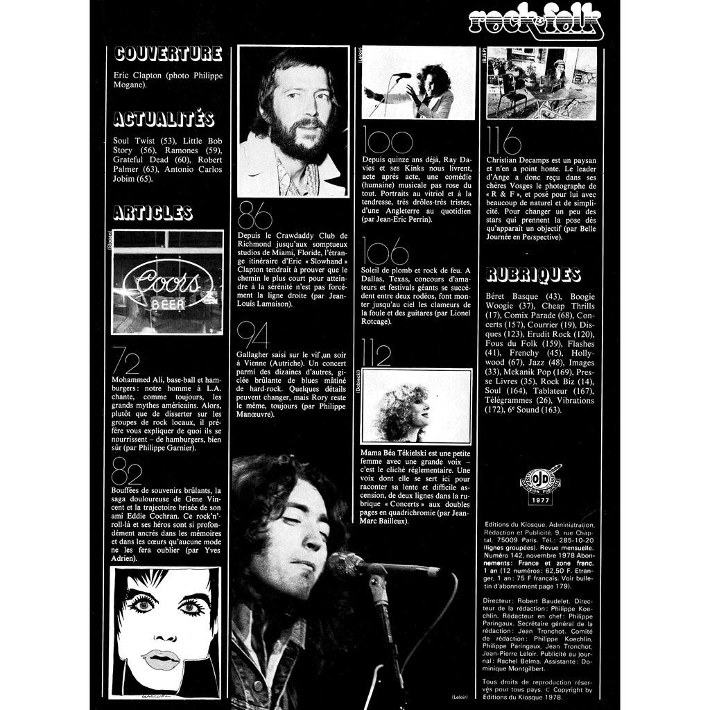 CLAPTON- ANGE - GALLAGHER - KINKS Rock and Folk n° 142 Novembre 78