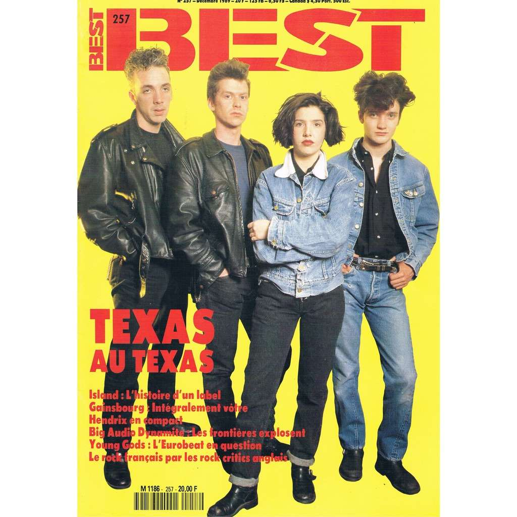 TEXAS - GAINSBOURG - HENDRIX BEST n° 257 - decembre 1989