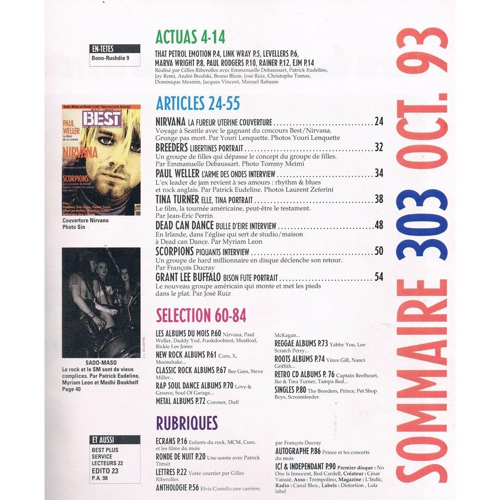 NIRVANA - SCORPIONS - WELLER PAUL BEST n° 303 - octobre 1998
