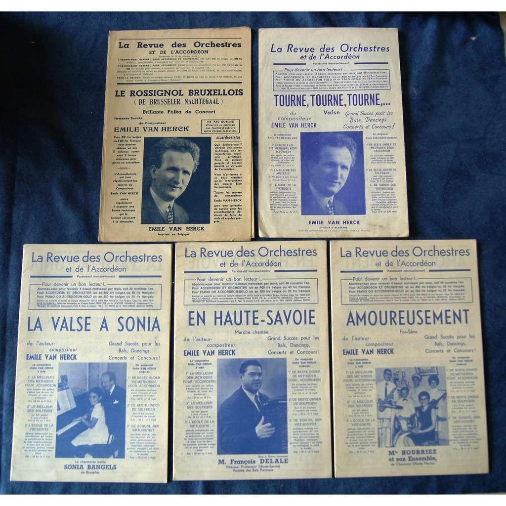 EMILE VAN HERCK LOT DE 5 PARTITIONS ACCORDEON