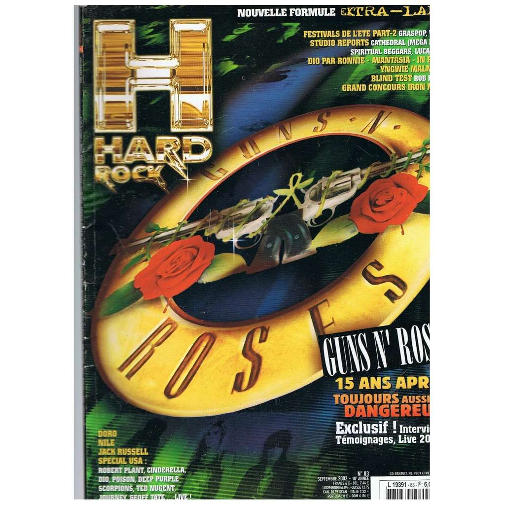 HARD ROCK MAGAZINE N°83 SEPTEMBRE 2002 GUNS N ROSES 15 ANS APRES
