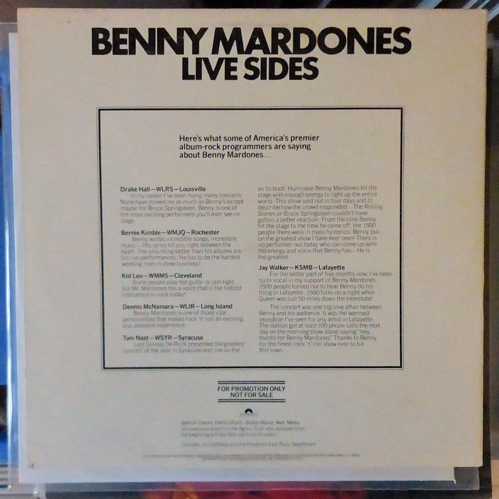 BENNY MARDONES LIVE SIDES