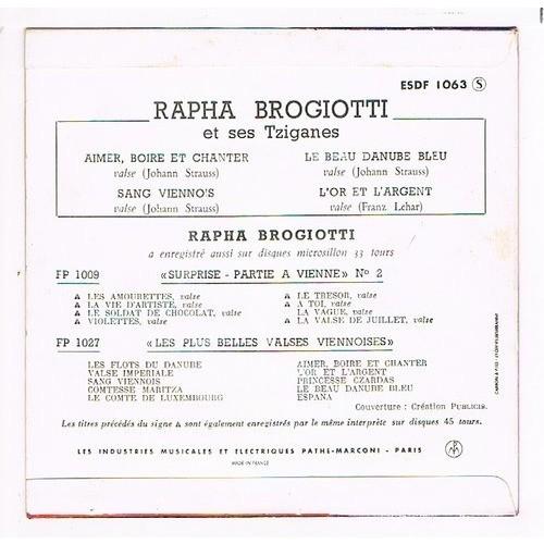 BROGIOTTI RAPHA AIMER BOIRE ET CHANTER + 3 (et ses Tziganes )