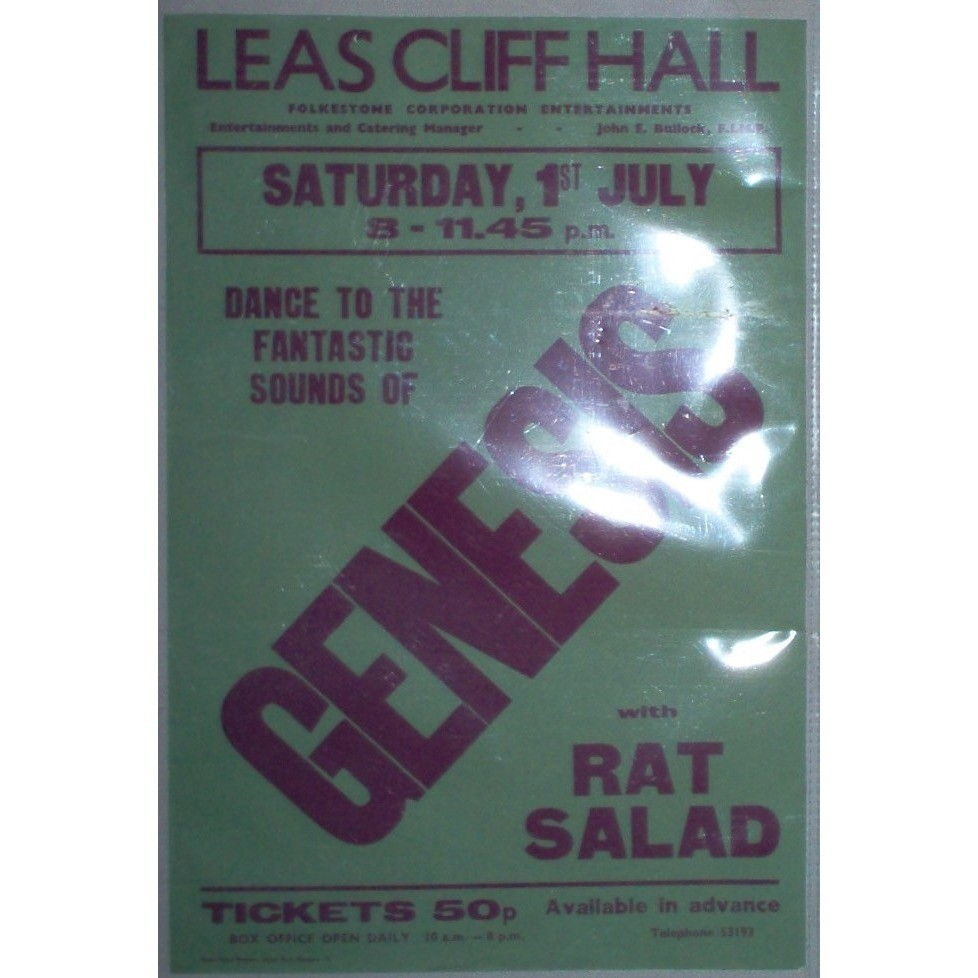 Genesis Leas Cliff Hall Folkestone UK Saturday 1st July 1972 (UK 1972 original promo Concert poster!)