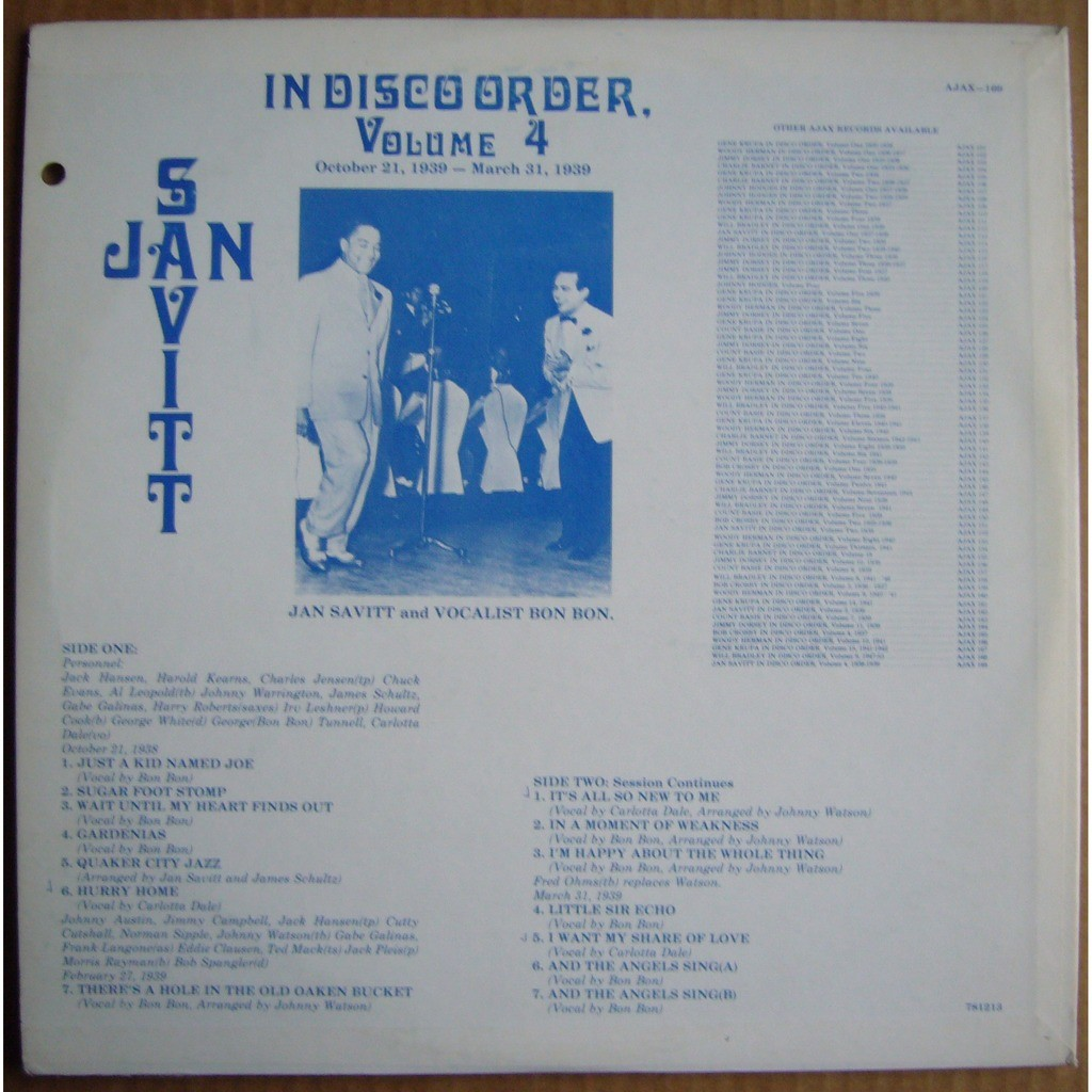 JAN SAVITT In Disco Order Volume 4 USA AJAX 169 NM