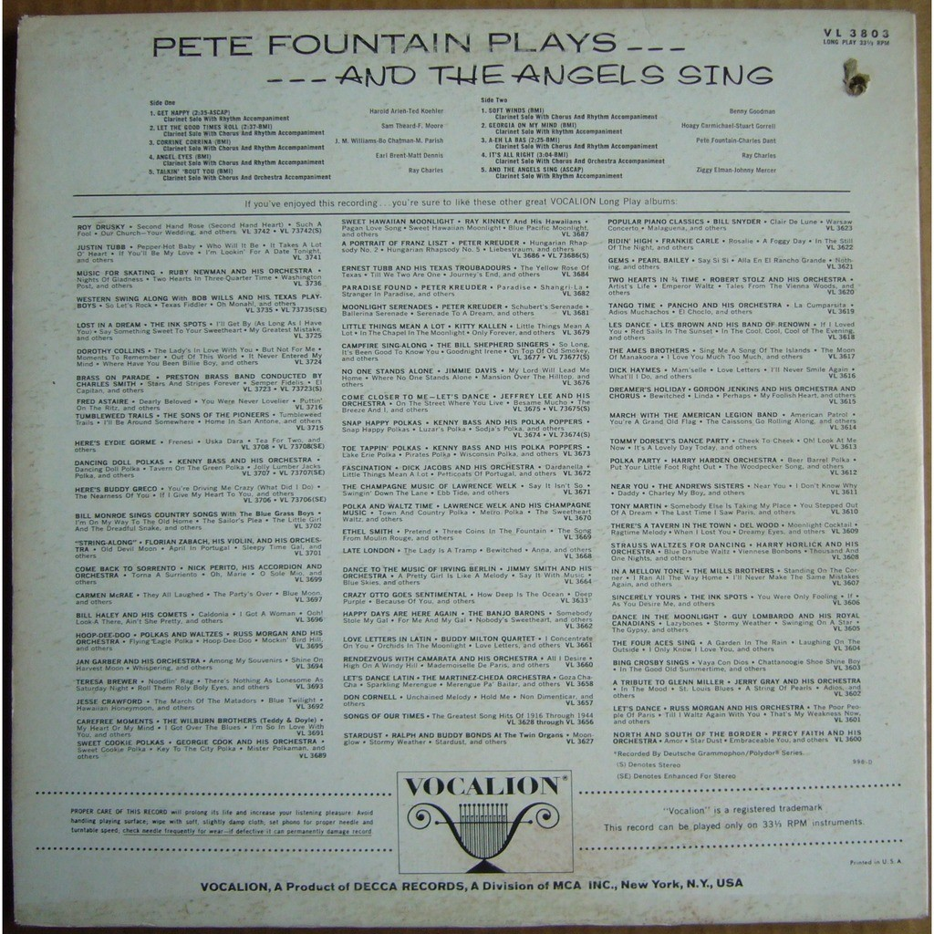 PETE FOUNTAIN Plays and The Angels Sing USA VOCALION VL 3803 NM