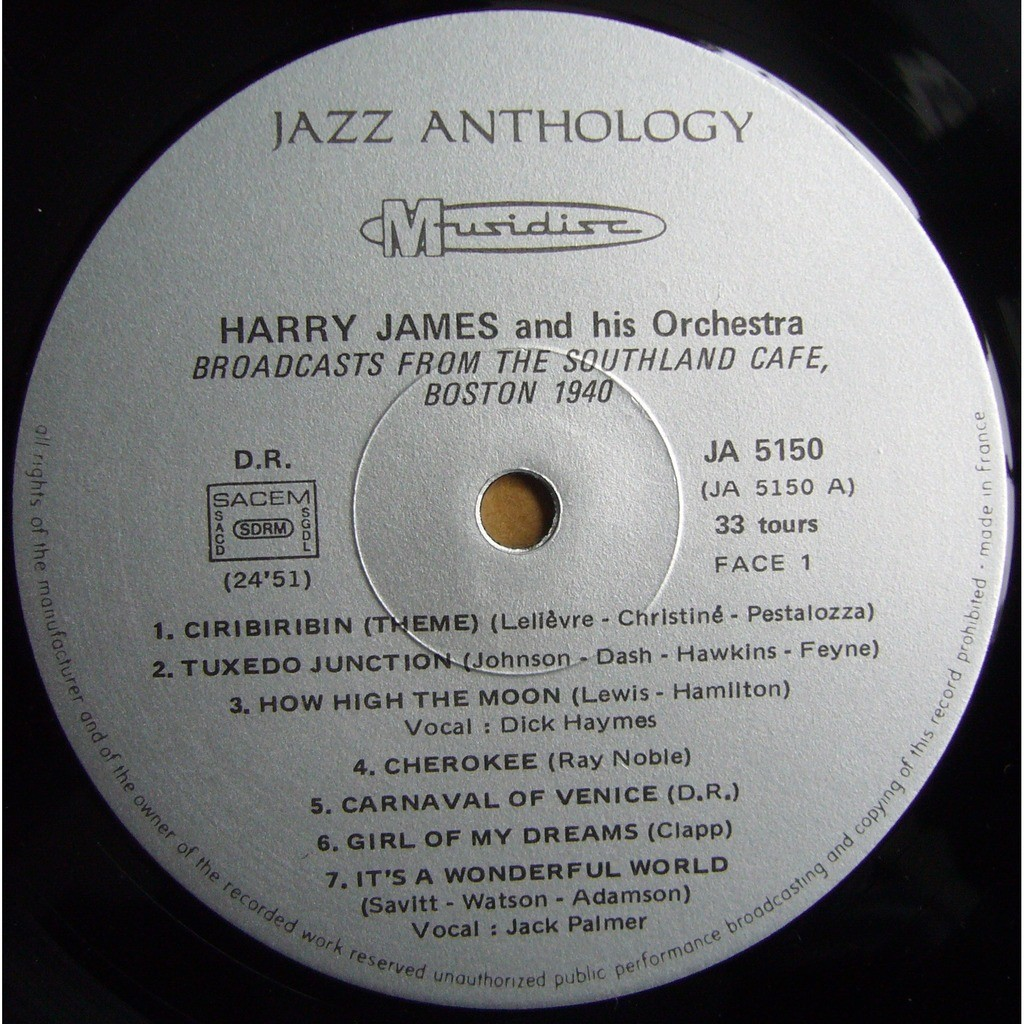 HARRY JAMES And His Orchestra 1940 / 1941 FRANCE MUSIDISC 30 JA 5150 MINT
