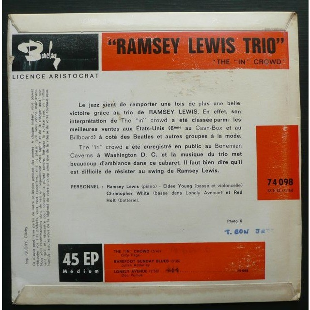 Ramsey Lewis Trio The In Crowd