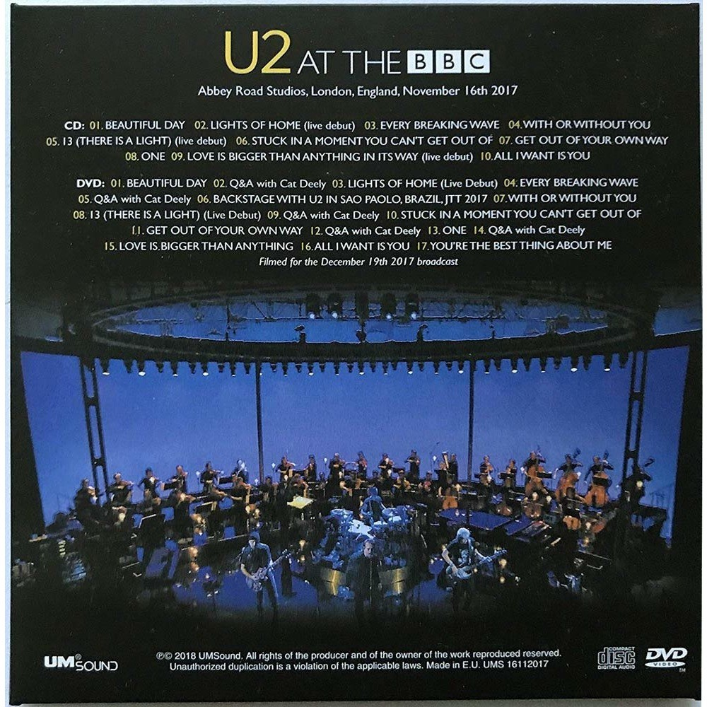 U2 Live at the BBC London England 16 November 2017 eXPERIENCE + iNNOCENCE Promo Tour CD+DVD cardbox