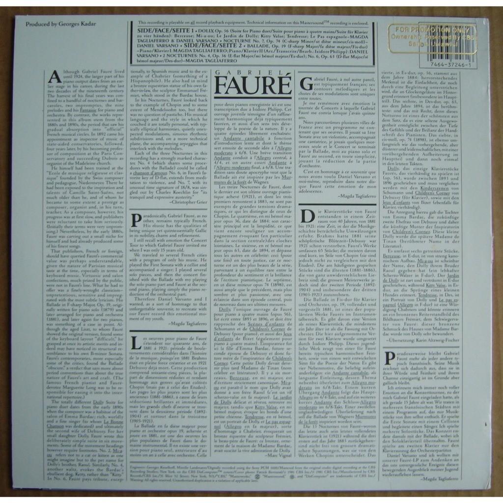 Magda Tagliaferro, Daniel Varsano Faure Dolly op.56, Ballade op.19, Nocturnes Nos.4, 6, 7 USA CBS MASTERWORKS 37246 MINT