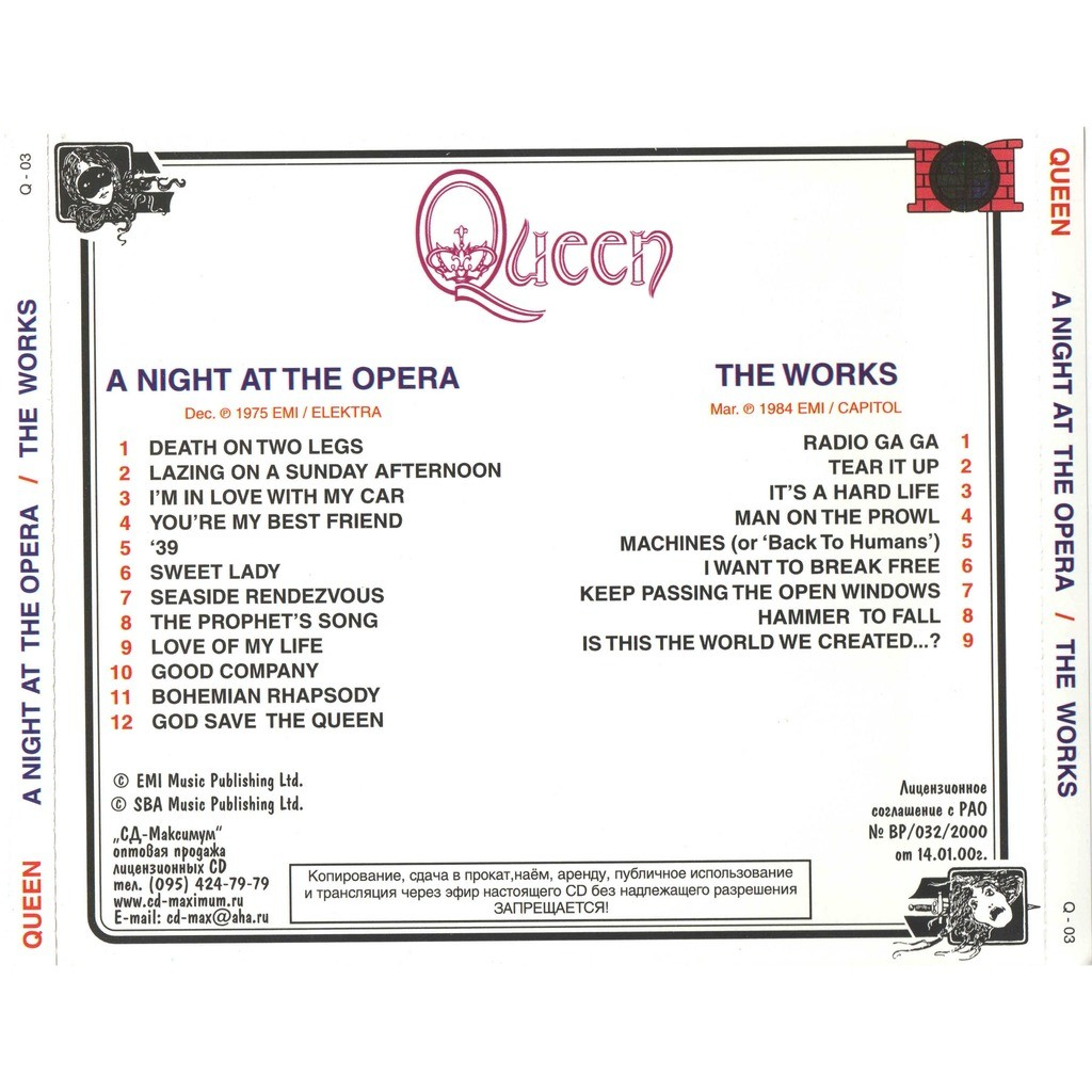 queen A Night At The Opera / The Works