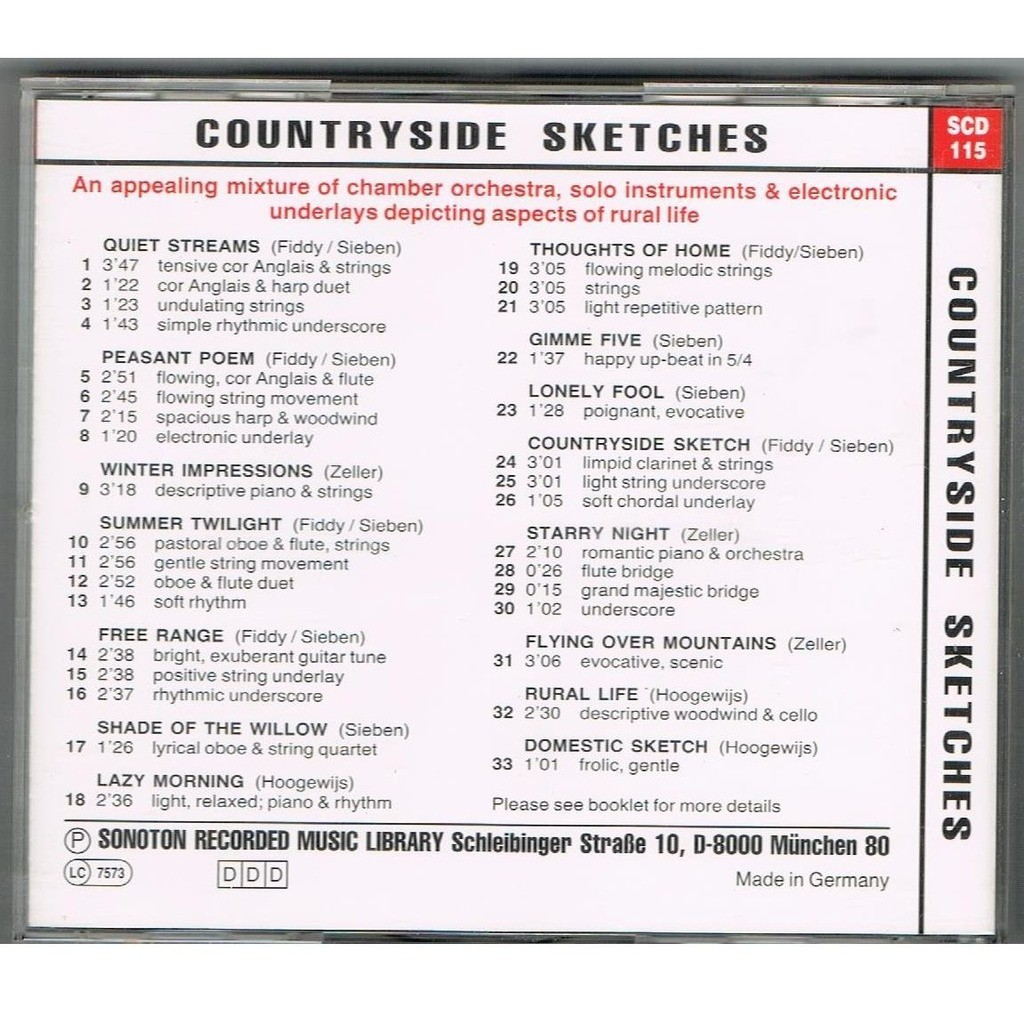 Jeff Newmann - Frank Comedes - Alain Bergier Countryside Sketches SONOTON SCD115
