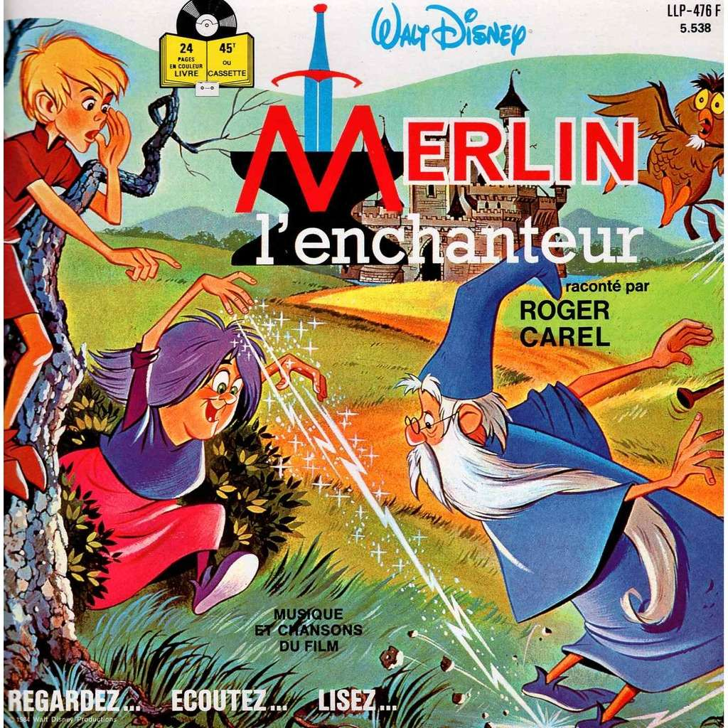Roger Carel Livre Disque 24 Pages Merlin L Enchanteur Walt Disney