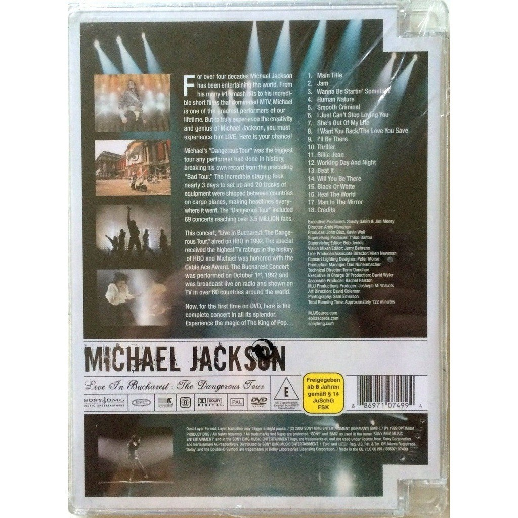 MICHAEL JACKSON - LIVE IN BUCHAREST (SEALED 1 DVD TRANSLUSCENT PLASTIC BOX)