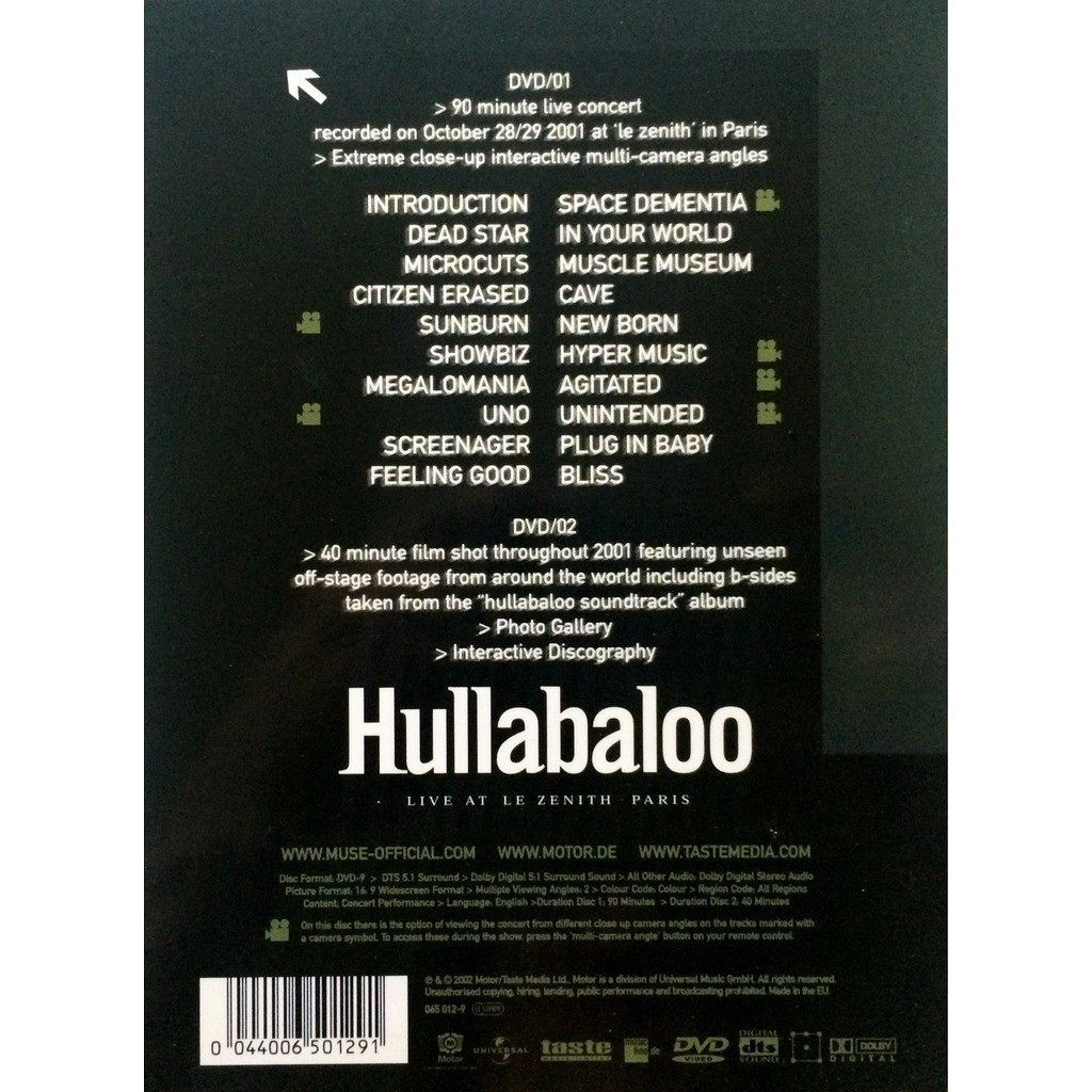 MUSE - HULLABALOO (EURO PRESSING 2 DVD's QUADRIFOLD DIGIPACK + 8 PAGES BOOK)