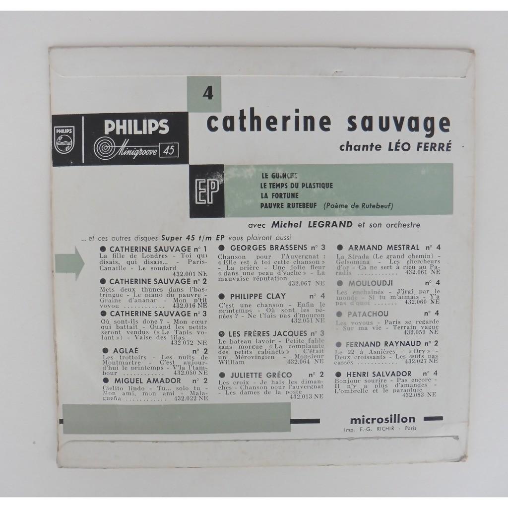 Le Guinche 3 De Catherine Sauvage Leo Ferre Michel Legrand 45 Rpm Ep 4 Títulos Con Leshauts78
