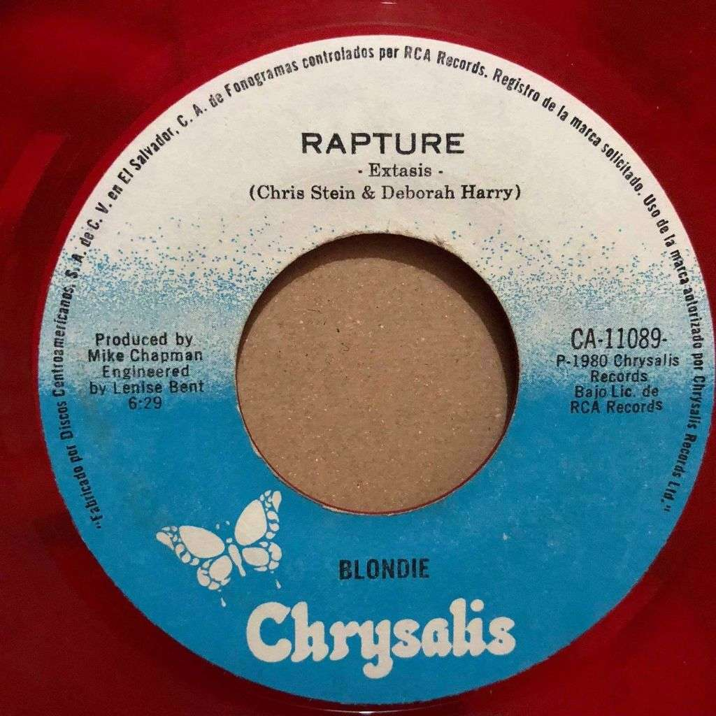 Blondie: Extasis (Rapture) (El Salvador 1980 Ltd 2-trk 7single RED vinyl Company slv)